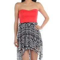 strapless high low casual dress with tribal print skirt - 1000046819 - debshops.com