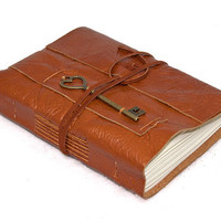 Light Brown Leather Journal with Heart Key Charm Bookmark
