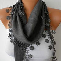Etsy -Gray Scarf  - Pashmina Scarf  - Headband Necklace Cowl with Lace Edge