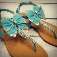 Lily Blue Bay Teal Big Bow Ankle Sandals