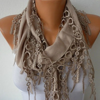 Etsy -Beige Scarf  -  Pashmina Scarf  - Headband Necklace Cowl with Lace Edge/76834049