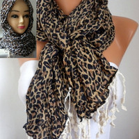 Etsy - Leopard Scarf - Cotton Scarf - Headband Necklace Cowl with Lace Edge/76770635
