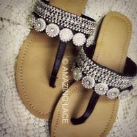 Vegas Black &amp; Silver Diamond Loaded Sandals