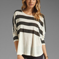MINKPINK Walk this Way Stripe Boxy Tee in White/Black from REVOLVEclothing.com