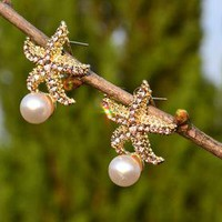 Sea pearl  rhinestone earrings