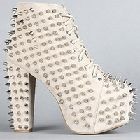 The Spike Lita Shoe in Nude Suede and Silver
