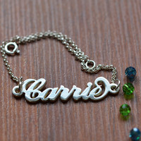 Sterling Silver Carrie Name Bracelet or Anklet