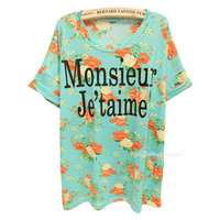 French I Love You Vintage Flower Slim T-shirt from FUNKISS