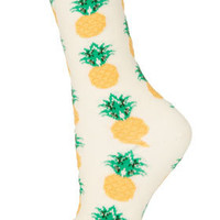 Cream Pineapple Ankle Socks