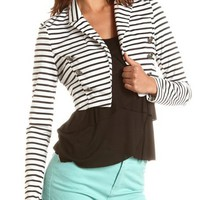 Striped Military Crop Blazer: Charlotte Russe