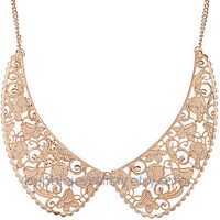 Collar Necklace, Bib Necklace, Metal Collar Necklace, Statement Necklace (Fn0551)