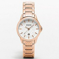 classic signature rose gold small etched bracelet watch