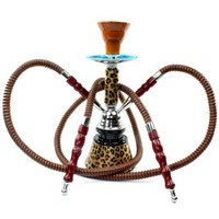 "Never Exhale (TM) 10"" 2 Hose Hookah Shisha Narghile Complete Set - Cheetah Leopard Skin Design - Pick Your Color"