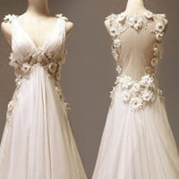 $309.00 Custom make Vintage Wedding Dress A LINE Bridal Gown by wonderxue