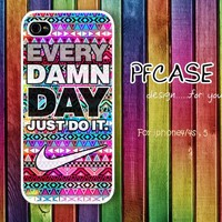 Nike with every damn day JUST DO IT with aztec pattern : Handmade Case for Iphone 4/4s , Iphone 5 Case Iphone