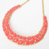Fashion Golden Oval Teardrop Peach Resin Bead Crystal Curve Pendant Bib Necklace: Jewelry: Amazon.com