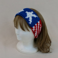 American Flag USA Headband Head Band Hair Style Red White Blue Stars Stripes Knit Hairstyles