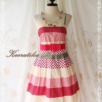 Colorful Time - Spring Summer Collection Simply One Shoulder Dress Party Simply Sundress Polka Dot And Patched Print