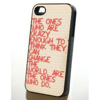 Black Iphone 4/4s Case --- Steve Jobs \&quot;Crazy\&quot;: Cell Phones &amp; Accessories