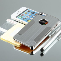 Silver Luxury Brushed Aluminum Chrome Hard Case For iPhone 5 5G 6th+Stylus+Film