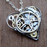 "Steampunk Heart Necklace ""Process"" Clockwork Gears Heart Mechanical Pendant Clockwork Love Sculpture by A Mechanical Mind Mother's Day"