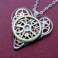 "Mechanical Heart Necklace ""Geared Up"" Clockwork Gears Heart Steampunk Necklace Clockwork Love Sculpture by A Mechanical Mind Mother's Day"
