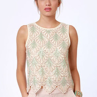 She Sells Seashells Cream Sequin Top