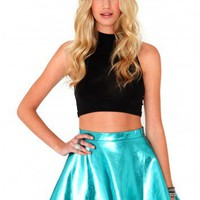 Missguided - Kitty Metallic Skater Skirt In Blue