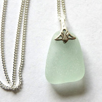 Sea Glass Necklace Seafoam on Sterling Silver Chain... ELENA