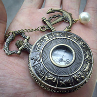 Zodiac Pocket Watch Necklace with a sailer anchor by qizhouhuang