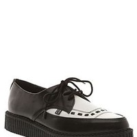 T.U.K. Black &amp; White Leather Tie Pointed Creepers