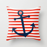 Nautical Anchor Throw Pillow by All Is One