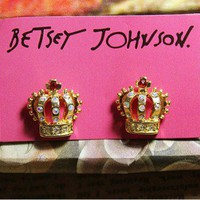 Style Jewelry Betsey Johnson Small flash zircon crown Jewelry Earrings BJ018