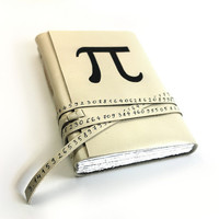 Pi - Leather Journal - Hand Painted Cream and Black Vintage Style Math Geek Journal - Free Personalization for Mothers Day