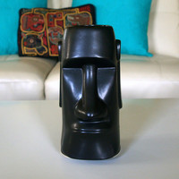 ATOMIC RETRO TIKI Mid Century / Japan / Retro Bar Lounge / Easter Island Head Statue / Barware Drinking Glass / Vintage Exotic Cocktail Cup