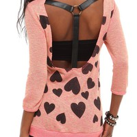 Coral Heart T-Strap Sweater - 704548