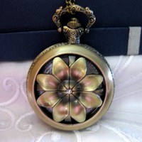 Vintage Style Copper Bronze Rotatable Petal Crystal Pocket Watch - Wedding Jewelry | Handmade