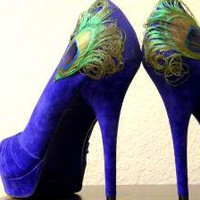 Blue Peacock Peep Toe Pleated Pump Size 85 by LaPlumeEthere