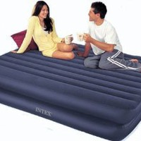Intex Queen Raised Inflatable Supreme Airbed Air Mattress Bed w/ Built-in 110V AC Pump