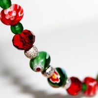 Cherry and Green Apple,  Red and Green glass beaded anklet by MesmerisingGems on Etsy