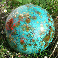 Garden Art by Anna Garden Globe Aqua Color by Oregon4ever on Etsy