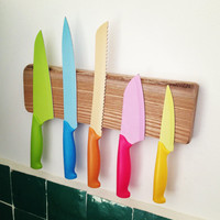 Magnetic wooden knife rack 5 knives Also by WoodAndVintage on Etsy