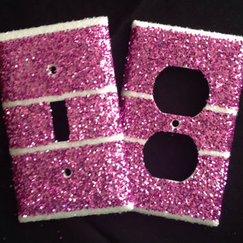 Glittered Pink & Crystal Stripes Outlet by MelaniesGlittermania