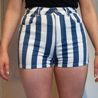 Blue and White Stripe Shorts from francesmichael94