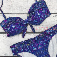 RESTOCK Summit Sands Purple Aztec Tribal Bikini Set