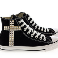 Studded Converse Silver Cross pattern studs with converse Black high top by CUSTOMDUO