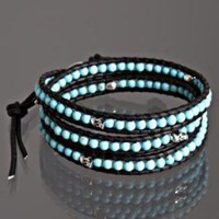 Chan Luu turquoise beaded 'Skull' leather wrap bracelet at Bluefly