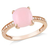 10k Rose Gold Pink Opal and Diamond Ring, (0.03 cttw, G-H Color, I1-I2 Clarity): Jewelry