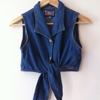 Cutie  Vintage Denim Crop Tank by PromiseToRepeat on Etsy