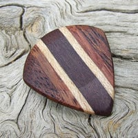 Multiple Woods Premium Guitar Pick - Jazz Stubby - Handmade with Katalox - Hard Maple - Amazon Rosewood and African Mahogany